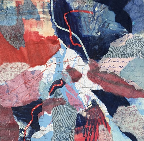 Collage with watercolor, handmade papers and maps
