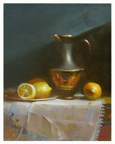 Still Life with Lemons studio painting by Lauren Andreach.