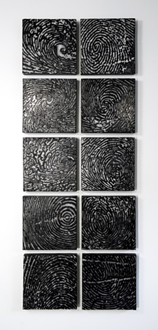 natural forces and thumprints ceramic wall installation by Ana England art and science