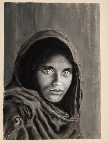 Pastel drawing of the Afgan Girl - a 1984 National Geographic photo by Steve McCurry