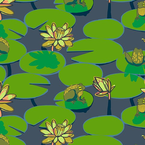 Frogs on lilies [yarrow]