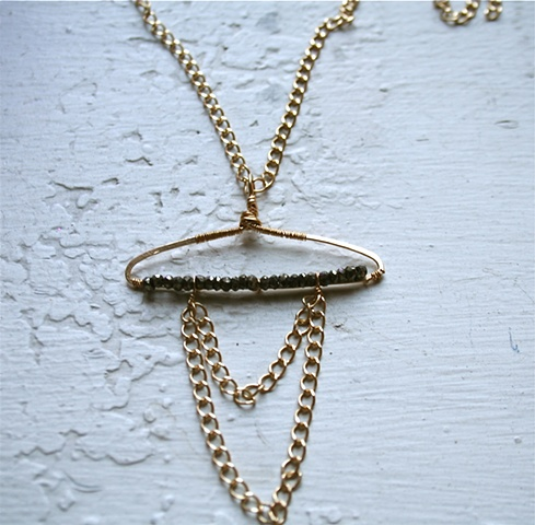 Libra Necklace with pyrite