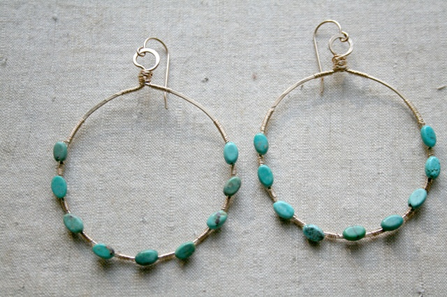 Large Hoops with Turquoise