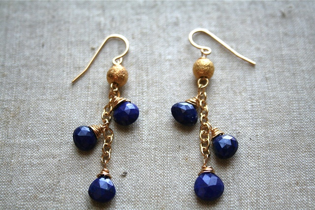 Iolite Cluster Earrings