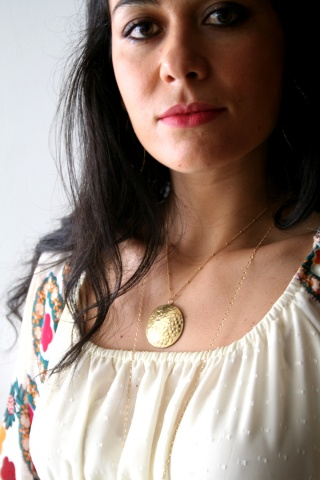 Marissa wearing the Full Moon Necklace