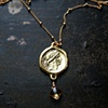 Gold Salvtis Coin Necklace with Citrine