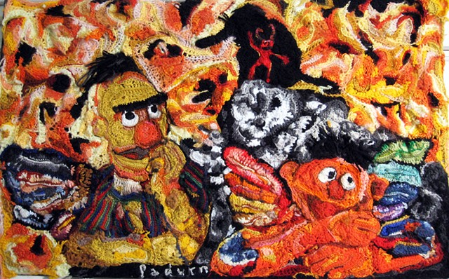 Crochet picture of Bert and Ernie in hell Elmo is the devil Snuffy is behind him crochet fiber art by Pat Ahern.