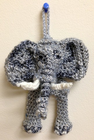 Crochet elephant ornament yarn fiber art by Pat Ahern.