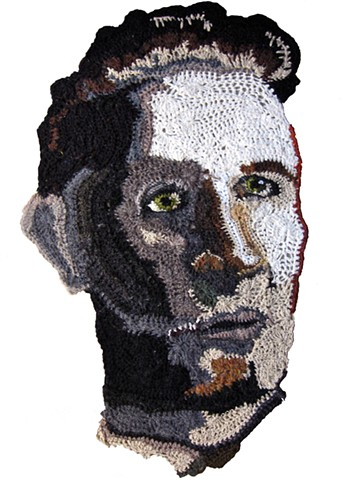 Crochet art portrait of man grandfather crochet fiber art portrait by Pat Ahern.
