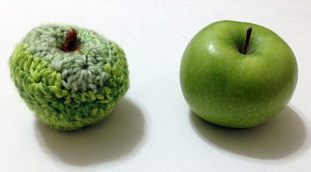 Crochet green apple granny smith toy yarn fiber art by Pat Ahern.