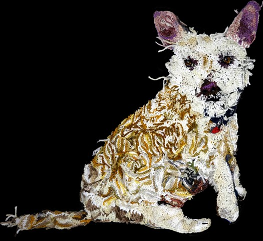 Dog portrait terrier mix crochet yarn art by Pat Ahern