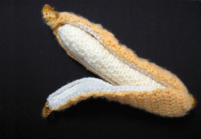 Crochet banana toy crochet banana peel yarn fiber art by Pat Ahern.