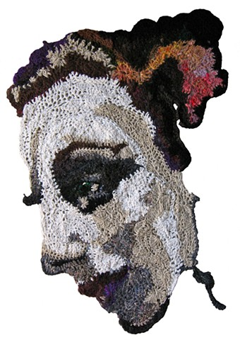 Crochet art portrait of a woman grandmother crochet fiber art by Pat Ahern.