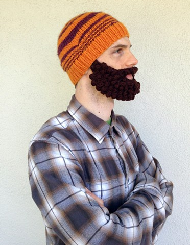 Lumberjack crochet halloween costume beard hat crochet fiber art by Pat Ahern.