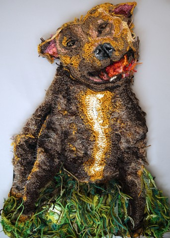 Crochet art portrait of a dog pit bull at Gather DTLA /crochet fiber art by Pat Ahern.