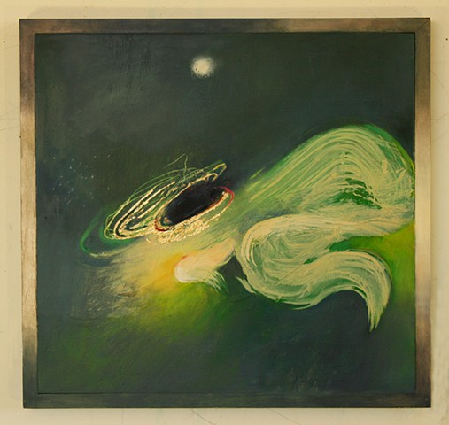 green with white nebula, black hole, vortex and light cocoon by Jess Beyler