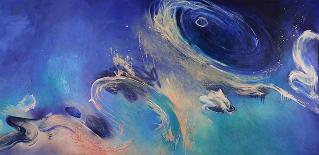 Blue abstract painting inspired by Hubble telescope image by Jess  Beyler