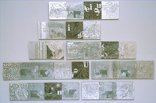 Homage, 2002. Foiled paper, fabric and wire on drywall.