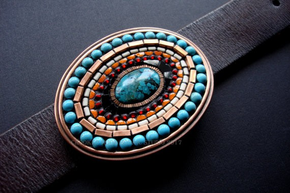 One of a Kind SouthWest Style Mosaic Belt Buckle