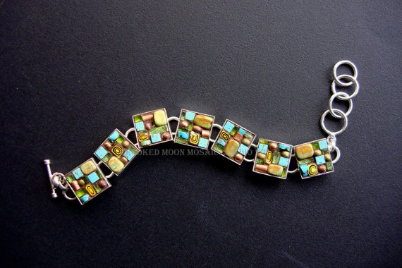 Earthy Geometric Turquoise and Glass One of a Kind Bracelet