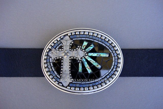 One of a Kind Mosaic Belt Buckle with Cross