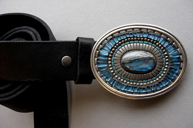 One of a Kind Labradorite Mosaic Belt Buckle