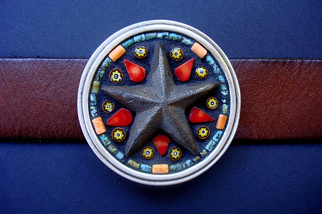 One of a kind belt buckle with a rusty iron star, coral and millefiori, jasper.