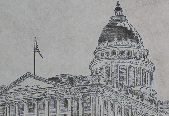 Utah State Capitol Detail Etch A Sketch Art by David Roberts
