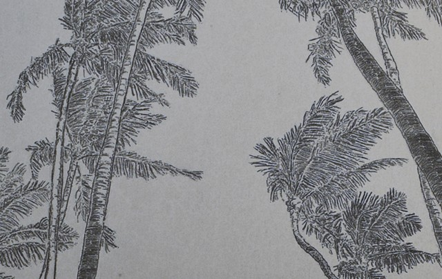 Swaying Palm Trees Hawaii detail Etch A Sketch Art by David Roberts