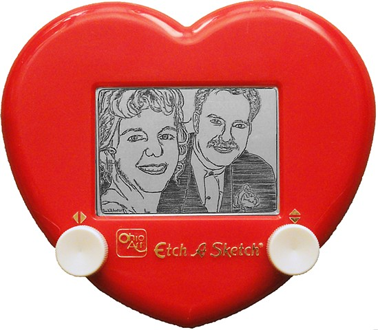 Newlywed Limo Ride Etch A Sketch portrait Art by David Roberts