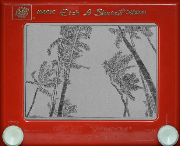 Swaying Palm Trees Hawaii Etch A Sketch Art by David Roberts