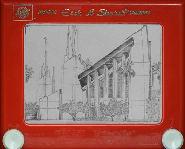 Las Vegas LDS Mormon Temple Etch A Sketch Art by David Roberts