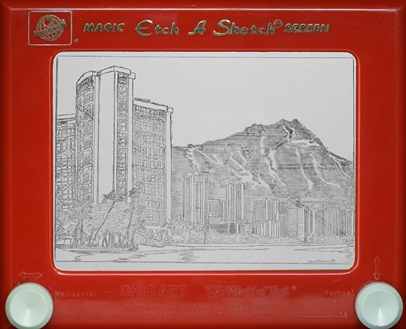 Waikiki Hawaii Diamondhead Hawaii Sheraton Etch A Sketch Art by David Roberts