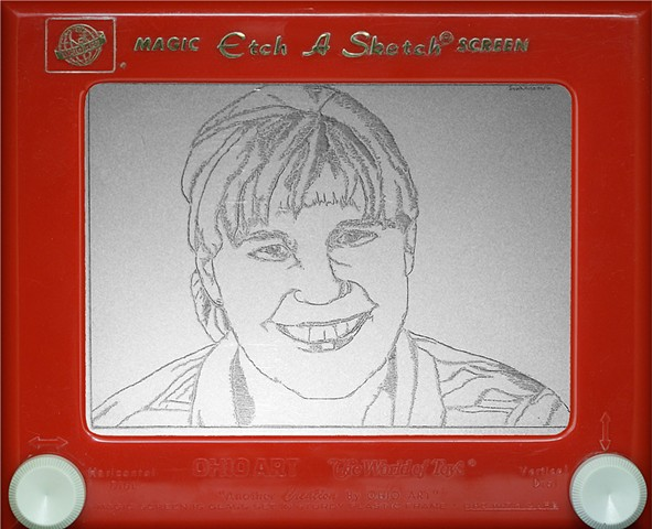Janna Roberts Portrait Etch A Sketch Art by David Roberts