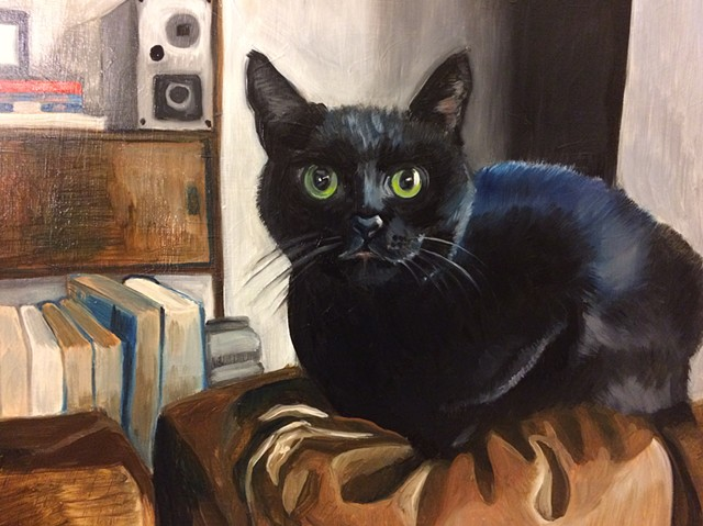 Oil painting on board of a black cat