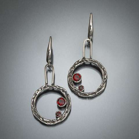 Sterling silver circles with vine texture and red stones
