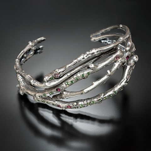 Branch sterling silver cuff with green and pink gems
