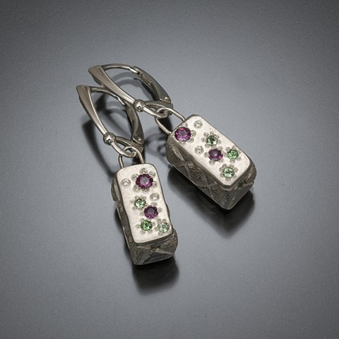 Jeweled sterling silver box earrings with pink and green garnets