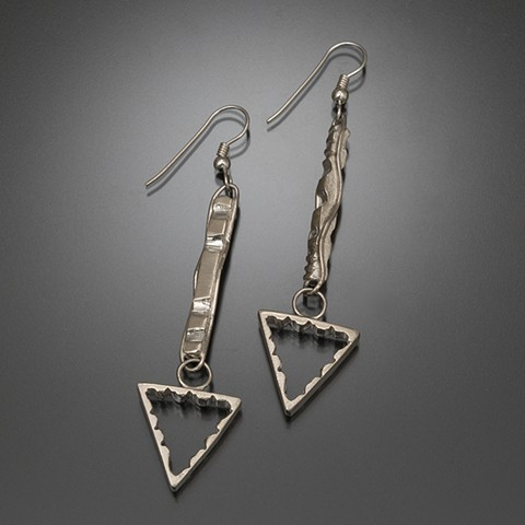 Sterling silver geometric form poles with triangles