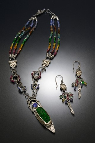 Hand-fabricated sterling silver pendant and component pieces with multi-gemstone chain