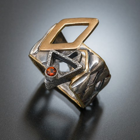 Hand-fabricated and designed box ring in 18 karat gold and sterling silver