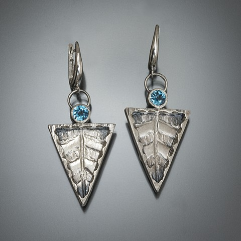 Triangles with texture and blue topaz