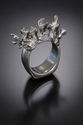 Sterling Silver Branch Coral Ring