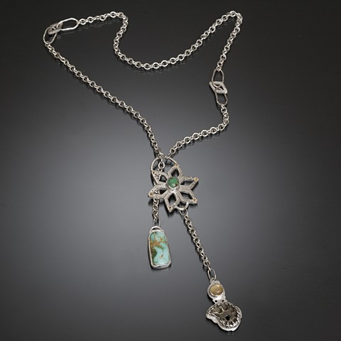 Sterling silver lariat, floral pattern with organic forms in green turquoise, pyrite, yellow