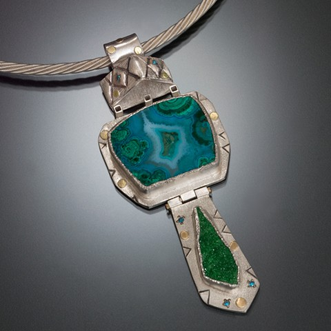Turquoise and green pendant with silver and 18 karat gold