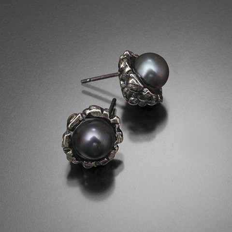 Carved sterling silver flower bud studs with peacock pearls
