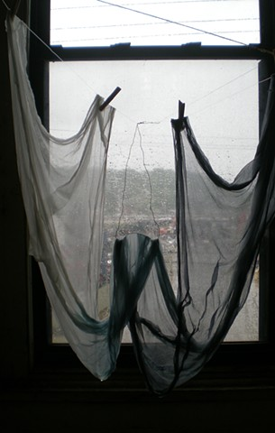 View from the window; while drying hand-dyed silk