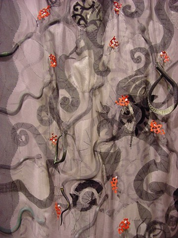 Snakes Double Bed Quilt; detail