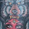 wolf head indian woman and hourglass