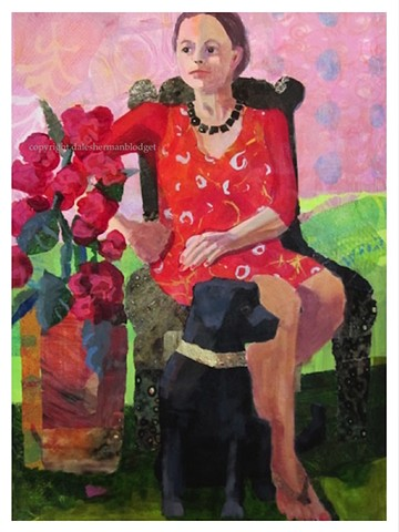 Black lab, labrador retriever, figure painting, acrylic, collage, red dress